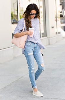 Pair denim jeans with a classic striped button up to steal Christine Andrew's cute and casual summer style. This outfit is great worn as a cool everyday outfit, perfect for wearing in the summer warmth! Shirt/Jeans/Shoes: Vince Camuto.
