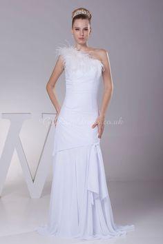 wedding dress,wedding dresses,wedding dress,wedding dresses sheath/column chiffon one shoulder natural waist sweep/brush train full back feather wedding dress