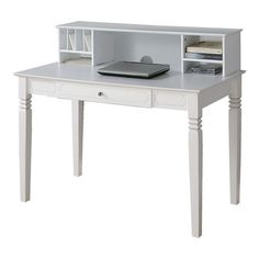 white desk- i'd probably cover the shelving with two small doors