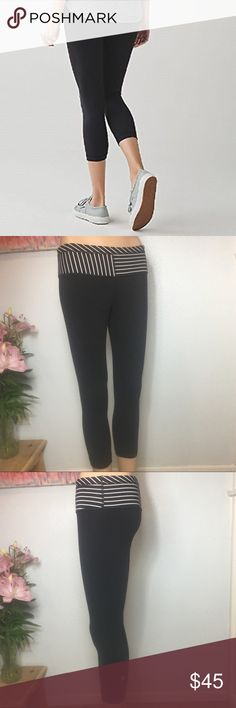 8375f2c0259621 Lululemon Wunder Under Crop Reversible Lululemon Black Reversible with Black  & White Striped Waistband Wunder Under. Poshmark