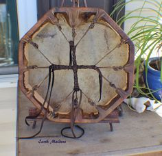 """13"""" Octagon Buffalo Hand Drum Native American Made DR111 - Earth Maidens"""