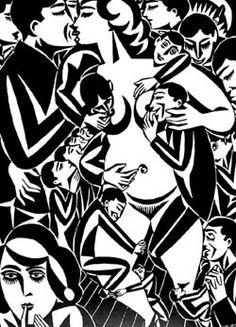 "Frans Masereel - ""Verlangen"", 1921, belgian artist, expressionisme, art belge, print, gravure"