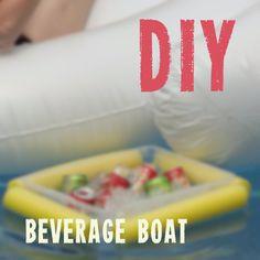 Pool Noodle Hacks: DIY Beverage Boat. One of our favorite pool noodle hacks ever.