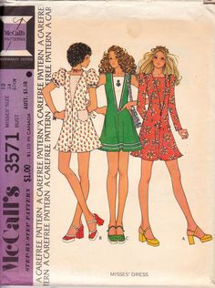70s Boho Mini Dress Deep V Neckline Puff Sleeves Pattern McCall's 3571 Size 12 Bust 34 inches