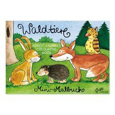 Malbuch A7 Waldtiere. Liebevoll illustriert von Annett Rudolph. Hergestellt in Deutschland. https://www.graetz-verlag.de/mini-malbuch-mit-waldtieren