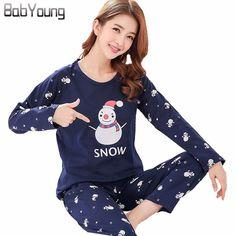 9b396bd709 BabYoung Winter Pyjamas Cotton Women Pajamas Sets Ladies Sleep Cartoon  Pijamas Mujer Snowman Femme Long Sleeve