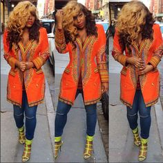 Today's Ankara Street Style of The Day is Stafani Milano. Stefani is wearing a dashiki print blazer, that can also be word as a blazer dress! African Attire, African Wear, African Women, African Dress, African Clothes, African Inspired Fashion, African Print Fashion, Fashion Prints, African Prints