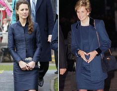 Both Princess Diana and Kate Middleton gave the short blue dress a try. Here Princess Diana couples hers with a loose blazer while Kate paired hers with a sculpted jacket.
