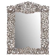 Wall mirror with a wood frame and floral engravings.  Product: Wall mirrorConstruction Material: Wood and mirror...