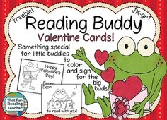 #Free, printable, black and white Valentine Cards for kindergarten and early primary students to give their older Reading Buddies for #Valentine's Day.