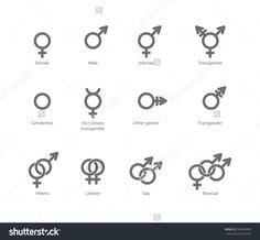 Vector Outlines Icons Of Gender Symbols And Combinations. Male ...