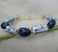 Wire Wrapped Bracelet  Vintage Oriental & Lapis by JewelryArtistry