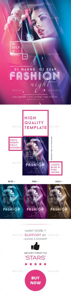 PSD  Fashion Night Flyer Template  • Click here to download ! http://graphicriver.net/item/fashion-night-flyer-template/11889781?ref=pxcr