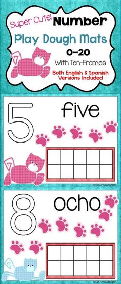 My kiddos still need a lot of practice with one-to-one correspondence when counting. I made these very cute kitty play dough mats because my students are really into cats right now after doing a whole unit on Pete the Cat. Hope you can use them in your classroom with your little ones. Included are mats with ten-frames for numbers 0-20, with number words... Both Spanish and English Versions included in this pack.   Created by Alma Almazan