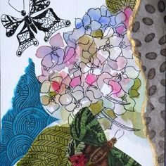 Carte d'art faite main anniversaire remerciement shabby chic hortensias