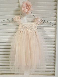 Magic Rose French lace and silk tulle dress for baby girl Flower girl dress blush princess dress tutu dress