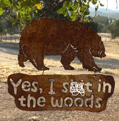 Bear In The Woods Hanging Metal Art Sign by FoothillMetalArt, $55.00
