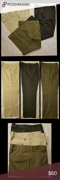 Tommy Hilfiger classic pleated  khakis 3 pair 3 pair of  Tommy Hilfiger classic pleated khakis pants, great for work, school or anytime. Perfect condition! Black, Olive & Khaki colors. All pants have been dry cleaned. Tommy Hilfiger Pants Chinos & Khakis