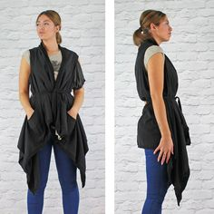 PinkCad Black Belted Waterfall Waistcoat £32.99 Available Instore And Online www.pinkcadillac.co.uk Pink Cadillac, Black Belt, Waterfall, Coat, Womens Fashion, How To Wear, Stuff To Buy, Shirts, Outfits