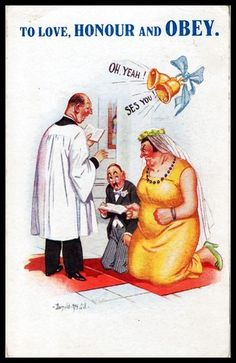Early 1933 Signed McGill postcard women's rights Suffragettes LOVE HONOUR & OBEY
