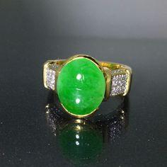 GIA Certified 18k Yellow gold Natural untreated Green Jade Jadeite Diamond ring #Cocktail