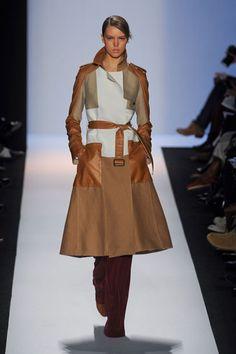 BCBG Fall 2012  Max and Lubov Azria tore a page from the Bauhaus book for fall. How did this manifest? Color-blocking with touches of fur.