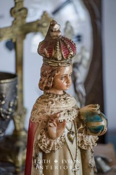 Vintage Infant of Prague Statue Chalkware 1950's by edithandevelyn