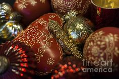 Red and gold Christmas decorations.