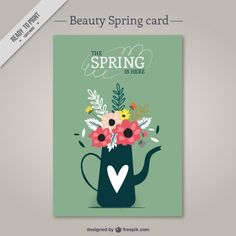 Watering can with flowers card Free Vector