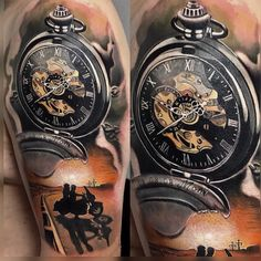 art by Marco KloseClock tattoo art by Marco Klose Compass and arrow done by Jared Rocker at Clovis ink. (Clovis Ca) Relistic pocket watch and bee - 100 Awesome Watch Tattoo Designs Alte Uhr Bein Tattoo Army Tattoos, Bike Tattoos, Full Sleeve Tattoos, Tattoo Sleeve Designs, Cool Tattoos, Pocket Watch Tattoo Design, Pocket Watch Tattoos, Clock Tattoo Design, Tattoo Clock
