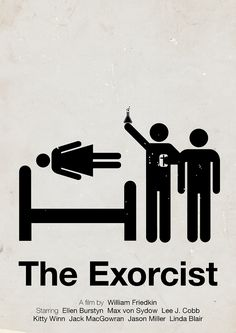 Loving this pictogram film poster for The Exorcist. Horror Movie Posters, Minimal Movie Posters, Minimal Poster, Cinema Posters, Cool Posters, Horror Movies, Scary Movies, Great Movies, Mad Movies