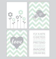 Baby Girl Nursery Art - Chevron mint and gray - set of four - 8x10 prints