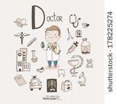 Cute vector alphabet Profession. Letter D - Doctor by Alexandra-Dikaya, via Shutterstock