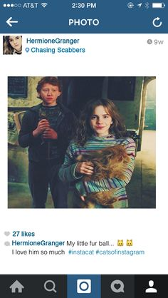 When she's posting pictures of her cat: | If Hermione Granger Had Instagram #HarryPotter #HermioneandRon #Potterhead