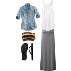 White tank, denim top and black & white stripe skirt