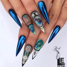 Sexy Royal Blue Metallic Nails Best Stiletto Nails Designs Ideas Tips For Gorgeous Nails, Love Nails, Fun Nails, Nail Swag, Metallic Nails, Acrylic Nails, Manicure Colors, Nailart, Nail Jewelry