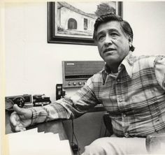 Cesar Chavez, founder of the United Farm Workers, is pictured here in his office, March 17, 1978. This photograph accompanied a newspaper article by Frank del Olmo, a staff writer specializing in Latin American affairs for the Los Angeles Times. Frank del Olmo Collection. Latino Cultural Heritage Digital Archives.