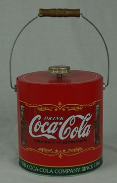 Vintage Coca Cola Red Insulated Ice Bucket Bottle Cap Nice Display #CocaCola