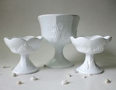 Items similar to Milk Glass Candlesticks & Compote Set, Vintage Indiana Colony Harvest Pattern on Etsy Glass Candlestick Holders, Glass Candlesticks, Glass Dishes, Candy Dishes, Vintage Dishes, Vintage Glassware, Vaseline Glass, Indiana Glass, My Glass