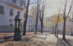 """""""Crépuscule sur la place Emile Goudeau à Montmartre"""" (""""Twilight on Place Emile Goudeau in Montmartre"""") - Thierry Duval"""