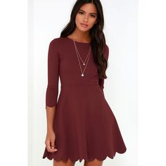 Cumulonimbus Clouds Burgundy Skater Dress ($56) ❤ liked on Polyvore featuring dresses, red, skater dress, scalloped dress, skater skirt dress, burgundy circle skirt and red skater skirt