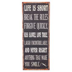 Weathered metal wall art with a typographic design. Product: Wall art Construction Material: Metal Color: Rustic Dimensions: H x W x D Great Quotes, Quotes To Live By, Inspirational Quotes, Motivational, Carpe Diem, Sign Quotes, Me Quotes, Lema, Happy Thoughts