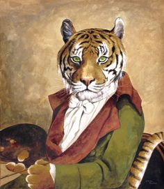 Buy 4 clothing tiger oil painting reproduction from Toperfect's artists in reasonable prices; our painters are famous for 4 clothing tiger paintings for sale, landscape art, portrait from photos, wall decor pictures, and more paintings on canvas. Big Cats Art, Cat Art, Magnificent Beasts, Tiger Painting, Tiger Art, Cat Character, Cat People, Pet Portraits, Gallery