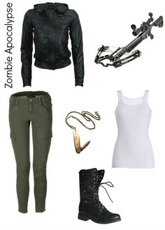 Is it bad that i've figured out my zombie apocalypse outfit? Black leather jacket, white tank top, olive cargo pants, black combat boots and topped off with a crossbow and pocket knife necklace. Surely no one would care what'd they be wearing in an apocal Zombie Apocalypse Outfit, Apocalypse Fashion, Apocalypse Survival, Walking Dead Clothes, Winter Leather Jackets, White Dress Pants, Badass Outfit, Outfit Work, Stylish Clothes