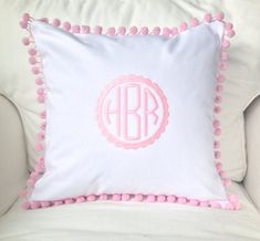 Scalloped Monogram Pom Pom Pillow Cover by peppermintbee on Etsy