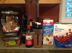 Chocolate Covered Cherry Almond Shakeology  1C. Unsweetened almond milk, 1 scoop chocolate shakeology, drop vanilla extract, drop almond extract, 1C. Frozen Cherries, 1 tblsn raw almond...blend and enjoy!