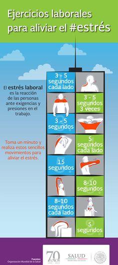 Ejercicios para aliviar el estrés laboral #infografia #infographic #health