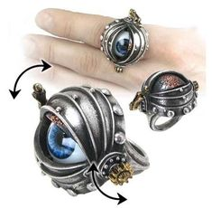 OMG I used to have an eye ring that was loved and lost, but it wasn't a STEAMPUNK eye ring! FTW!  -Steampunk ring with realistic human eye that opens