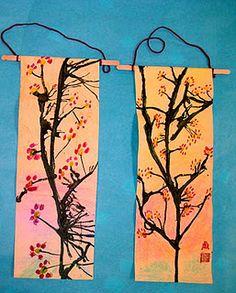 Experiments in Art Education: Cherry Blossom Scrolls Grade) - Art Projects - Arte Elemental, New Year Art, Cherry Blossom Art, 2nd Grade Art, Grade 1, Creation Art, School Art Projects, Clay Projects, Art Lessons Elementary