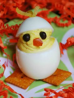 These Deviled Egg Chicks will be the stars of the table at your Easter dinner!